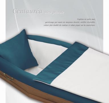 Capiton Centauréa satin mat couleur Bleu Pétrole et Ecru